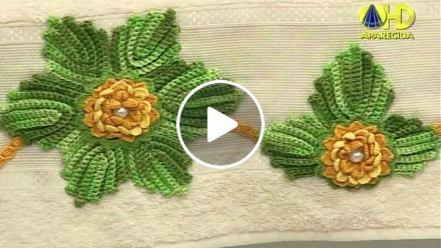 Aparador Ouro Branco Brilhantes ~ Toalha de Banho com Folhas e Flores em Croch u00ea Cantinho do Video