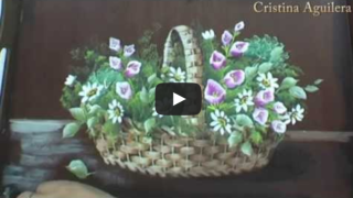 Pintando uma cesta com flores